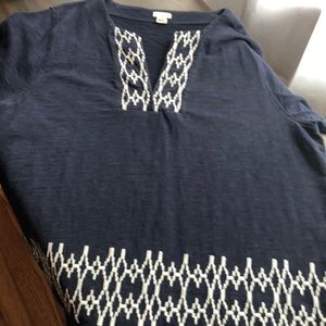 J Crew short sleeve navy top with white detail